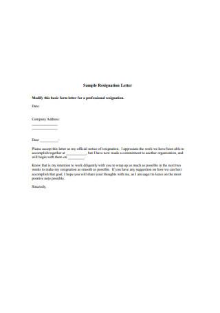 Professional Job Resignation Letter