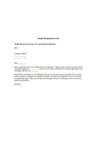 Professional Job Resignation Letter1