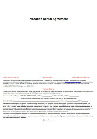 Professional Vacation Rental Agreement