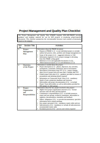 Project Management and Quality Plan Checklist