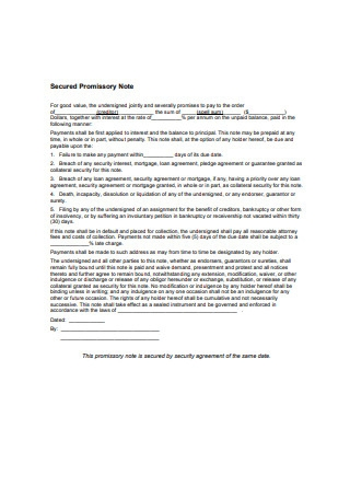 Property Secured Promissory Note