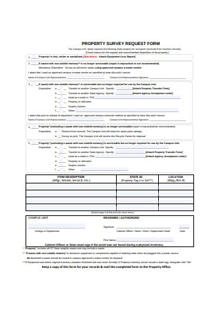 Property Survey Request Form Example