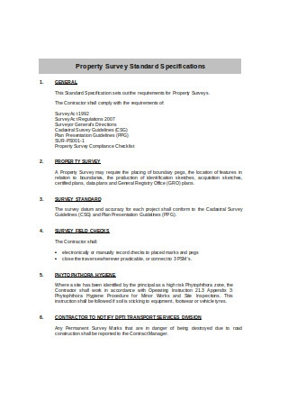 Property Survey Standard Specifications Example