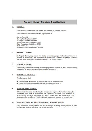 Property Survey Standard Specifications
