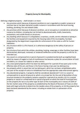 Property Survey for Municipality
