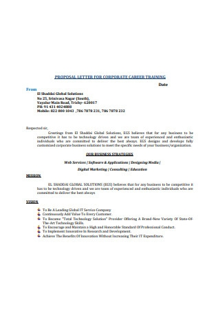 Proposal Letter for Corporate Carrer Training