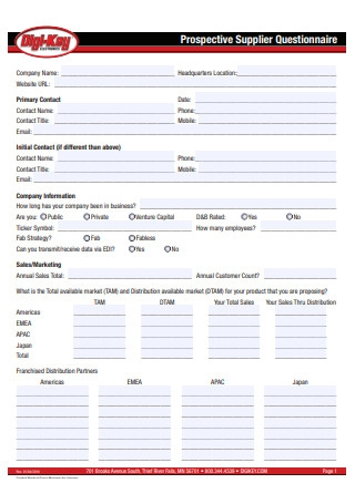 Prospective Supplier Questionnaire