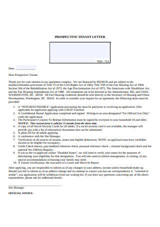 Prospective Tenant Letter