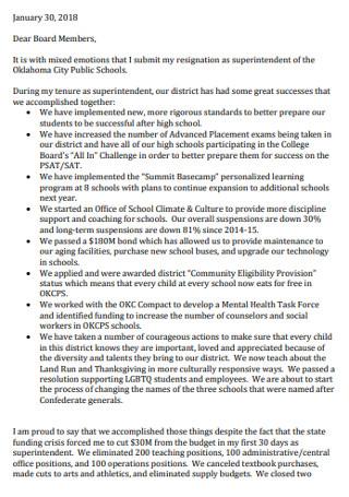 Public School Resignation Letter