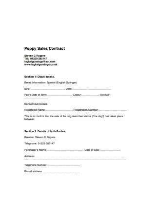 Puppy Sales Contract Sample