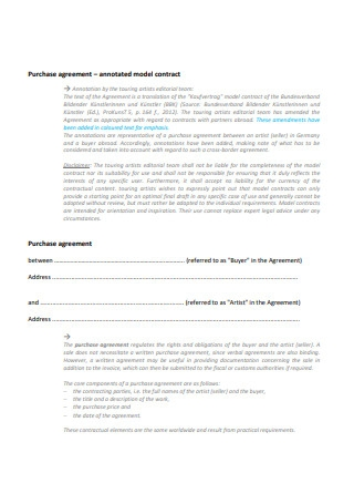 Purchase Agreement Annotated Model Contract