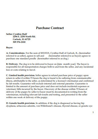 Purchase Contract Format