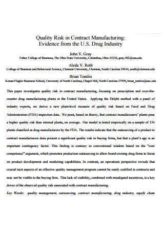Quality Risk in Contract Manufacturing