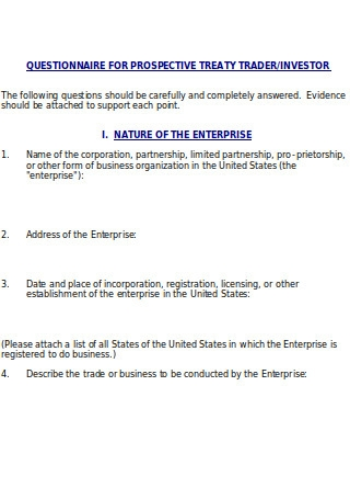 Questionnaire for Prospective Treaty Trader Investor