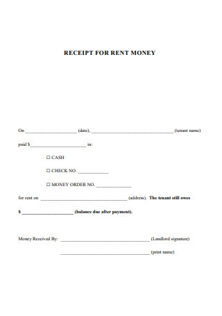 Receipt for Rent Money
