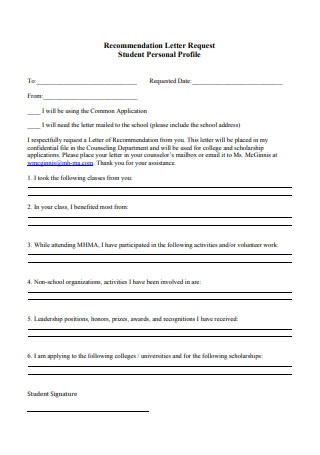 Recommendation Letter Request Student Personal Profile