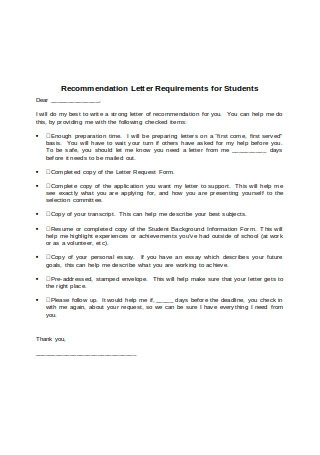 Recommendation Letter Requirement for Students