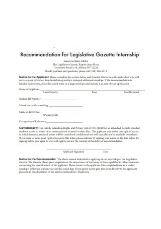 Recommendation Letter for Legislative Gazette Internship