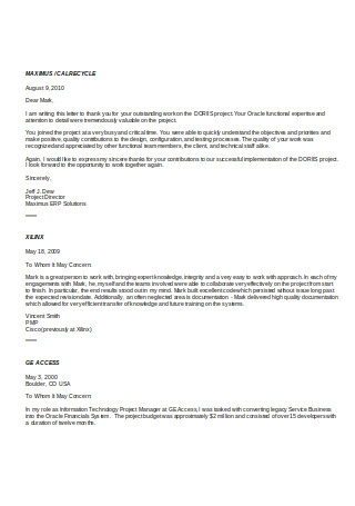 Recommendation Letters from Clients1
