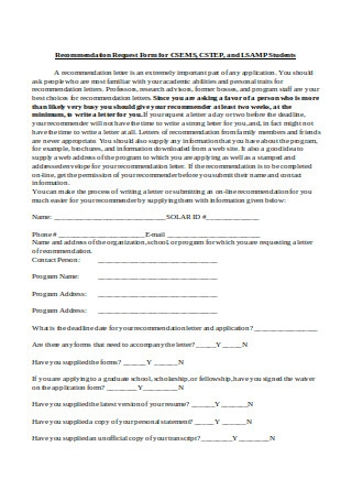 Recommendation Request Letter