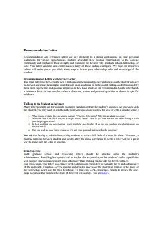 Recommendation and Reference Letter