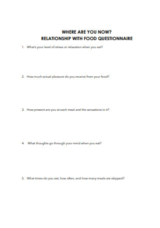 Relationship with Food Questionnaire