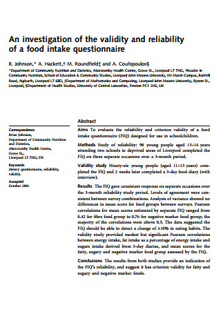 Reliability of a Food Intake Questionnaire