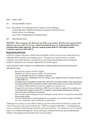 Rent Increase Policy Letter