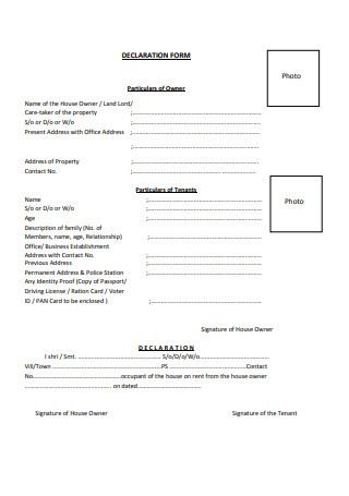 Rental Agreement Declaration Form