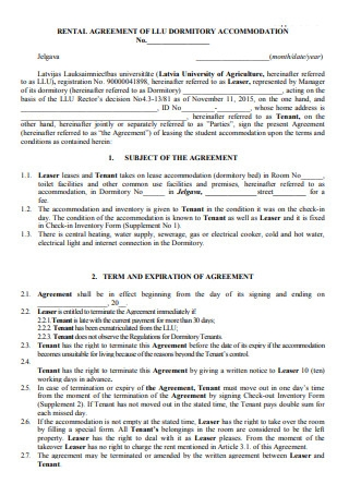 Rental Agreement of Dormitory Accommodation