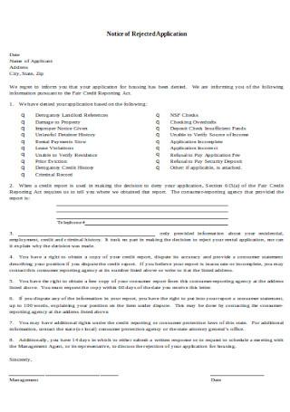 Rental Application Denial Letter