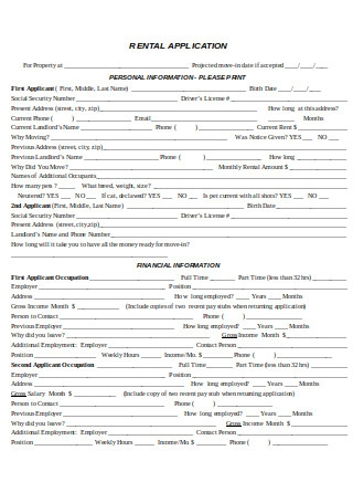 Rental Application for Property