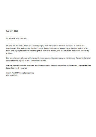 Rental Letter of Recommendation Sample