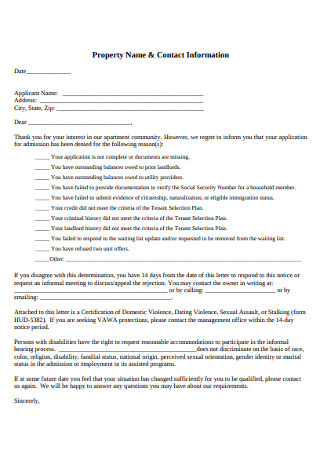 Rental Property Rejection Letter