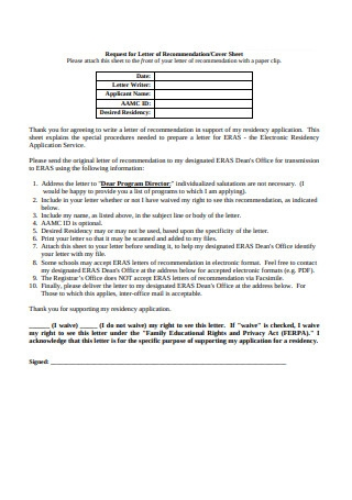 Request for Letter of Recommendation Cover Sheet