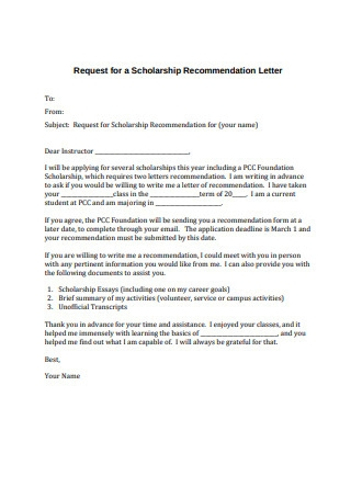 Request for Scholarship Recommendation Letter