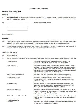 Reseller Sales Agreement