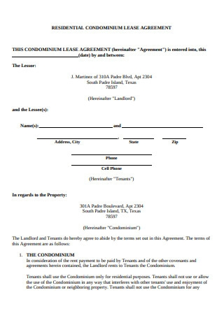 Residential Condominium Lease Agreement