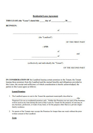 Residential Lease Agreement for Tenants