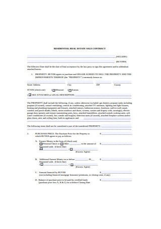 Residential Real Estate Sales Contract