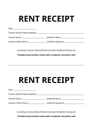 Residential Rent Receipt