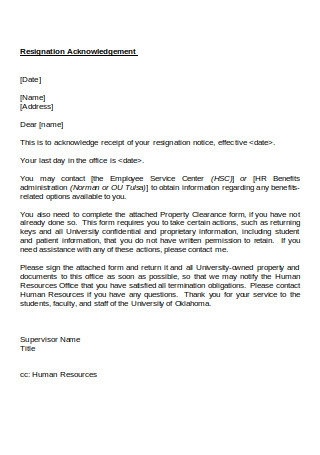Resignation Acknowledge Letter