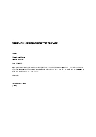 Resignation Conformation Letter