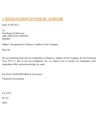 Resignation Letter by Auditor
