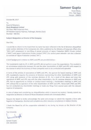Resignation Letter for Director