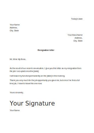 Resignation Letter for Part Time Job
