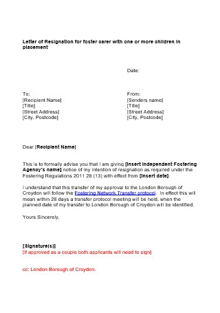 Resignation Letter for Placement