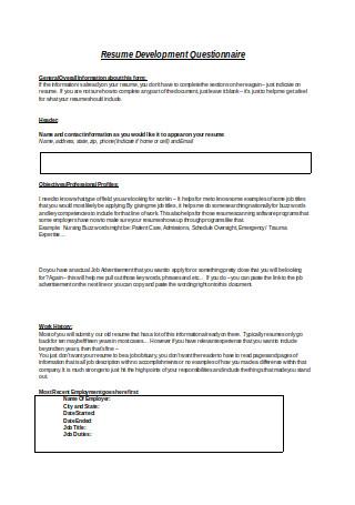 Resume Development Questionnaire1