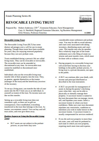 Revocable Living Trust and Estate Planning