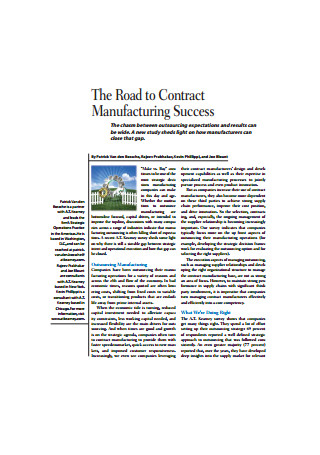 Road to Contract Manufacturing Success